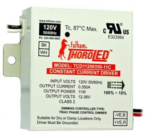 FULHAM THOROLED 350MA CONSTANT CURRENT 11W 120V LED TRIAC DIMMABLE DRIVER